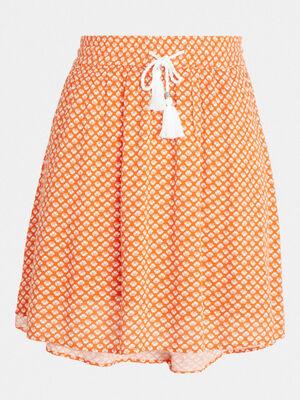 Jupe courte imprimee orange corail femme
