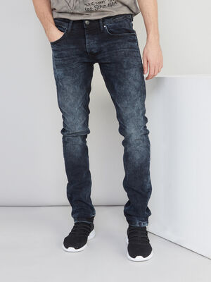 Jean slim delave denim blue black homme