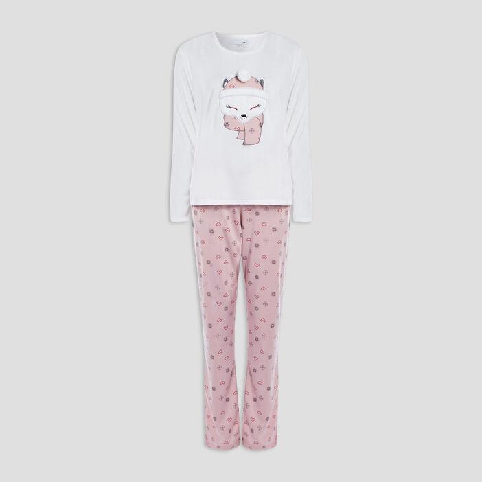 Ensemble pyjama 2 pièces femme ecru