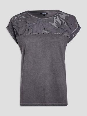 T shirt manches courtes gris fonce femme