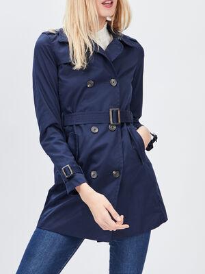 Trench ajuste ceinture bleu marine femme