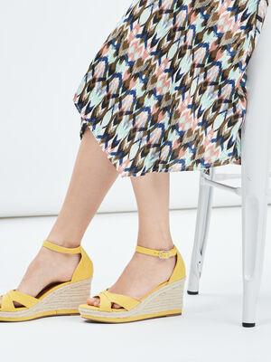 Sandales compensees jaune femme