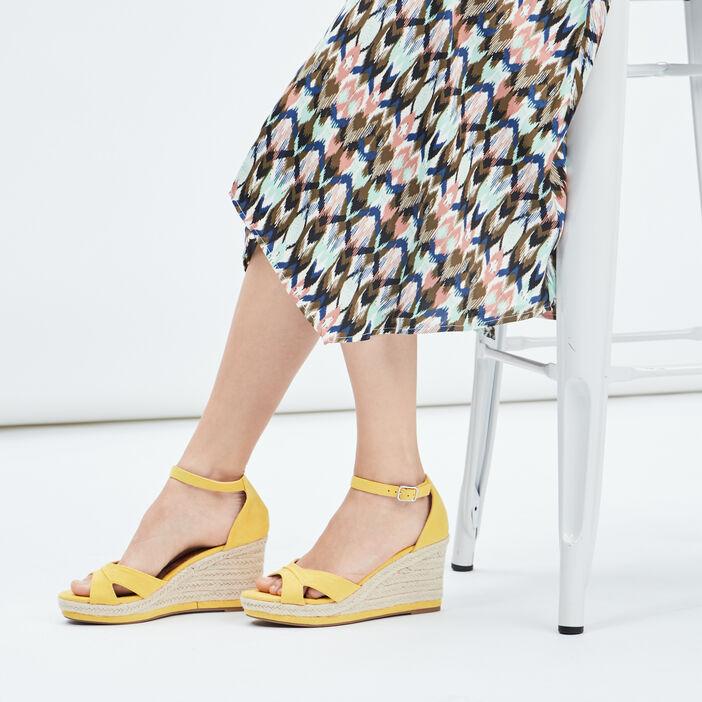Sandales compensées femme jaune