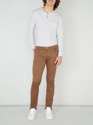 Pantalon droit uni marron clair homme