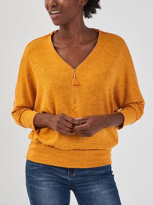 Pull avec col en V zippe jaune moutarde femme
