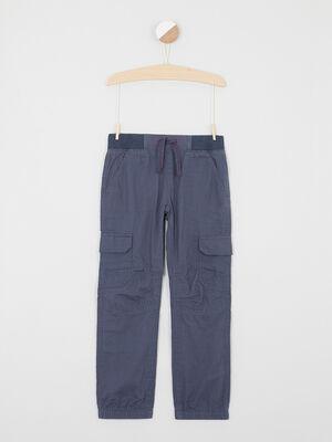 Pantalon multipoche en coton bleu garcon