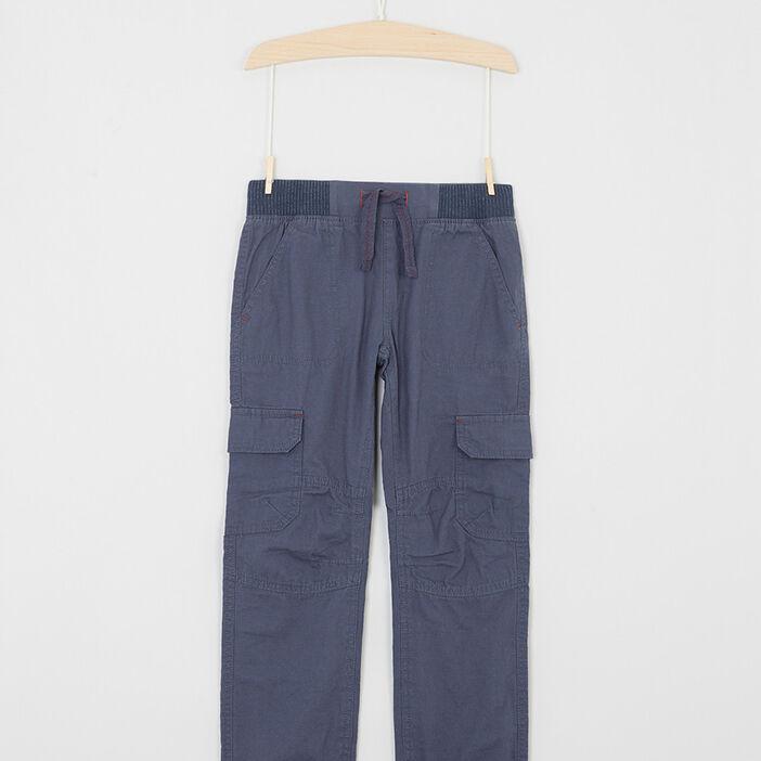 Pantalon multipoche en coton garçon bleu