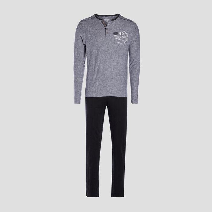 Ensemble pyjama 2 pièces homme gris foncé