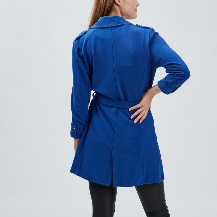 Veste droite fluide ceinturée femme bleu