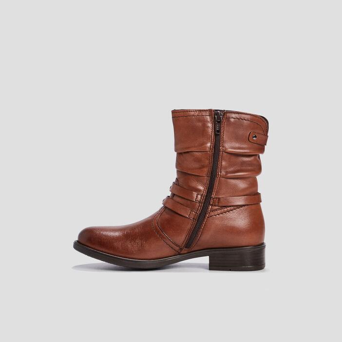 Bottes plissées en cuir fille marron