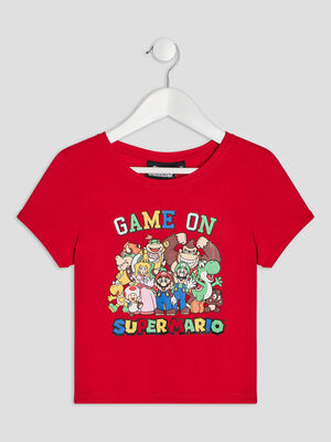 T shirt manches courtes Mario rouge fille