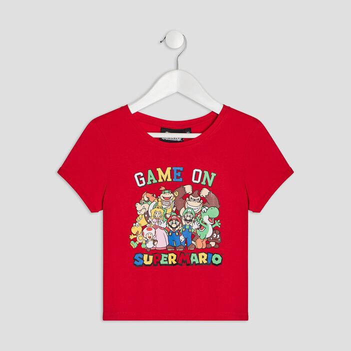 T-shirt manches courtes Mario fille rouge