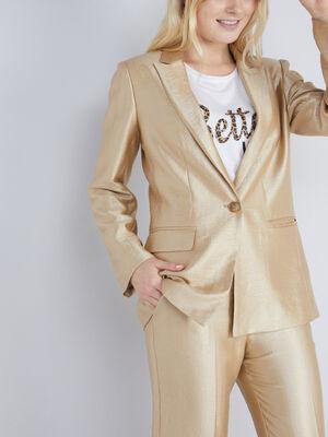veste de costume doree couleur or femme