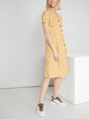 Robe a fleurs fermeture asymetrique jaune moutarde femme