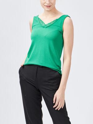 Debardeur bretelles larges vert femme