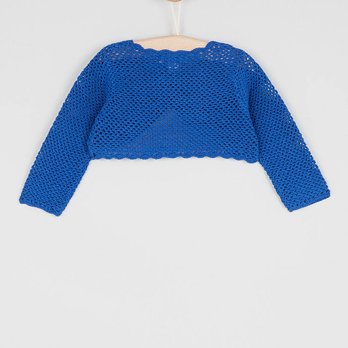 Boléro en coton bords festonnés bébé fille bleu marine