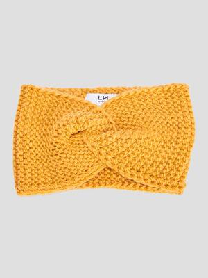 Bandeau tricote jaune moutarde femme