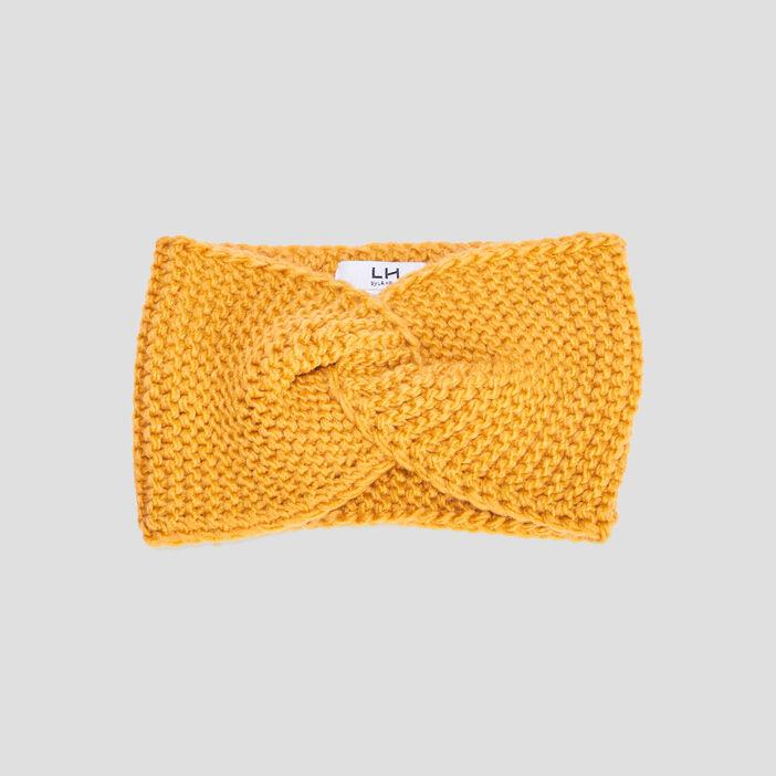Bandeau tricoté femme jaune moutarde