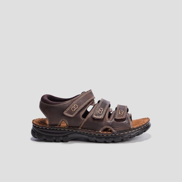 Sandales en cuir à scratchs homme marron