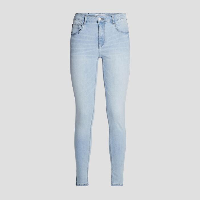 Jeans skinny effet used femme denim bleach