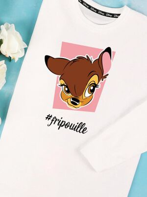 Pull Disney manches longues blanc fille