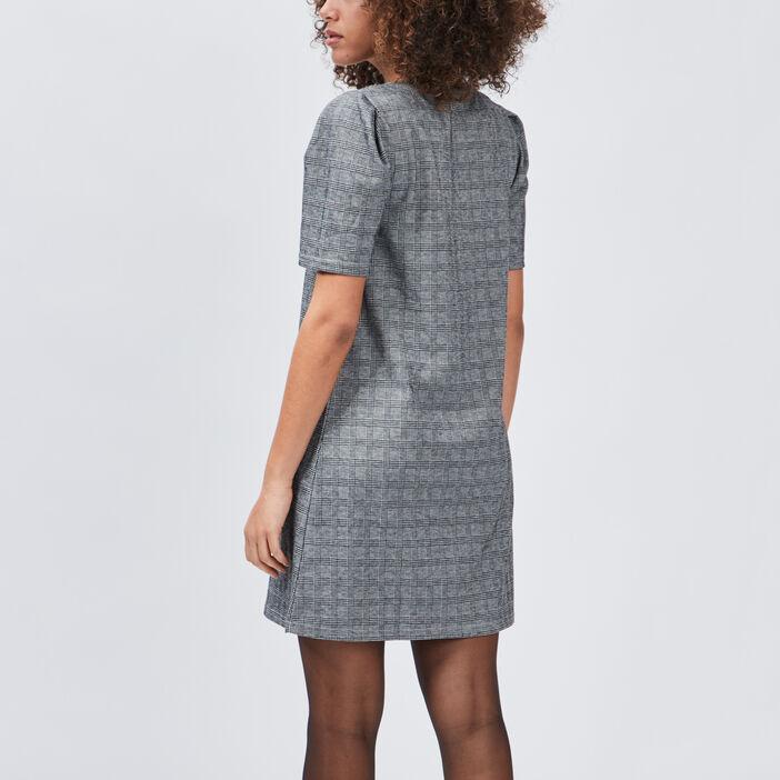Robe droite à manches courtes femme noir