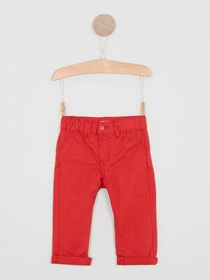 Pantalon uni forme chino rouge garcon