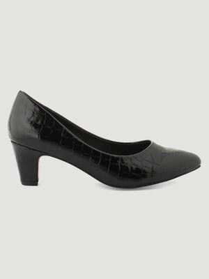 Escarpins vernis croco noir femme