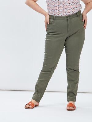 Pantalon slim grande taille vert kaki femmegt