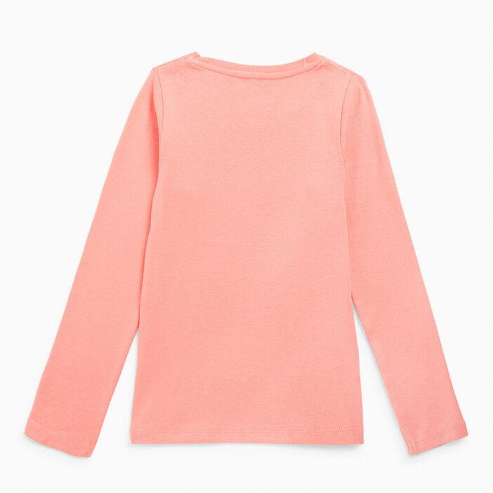 T-shirt uni en coton fille rose