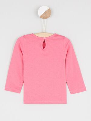 T shirt col rond a message rose fushia fille