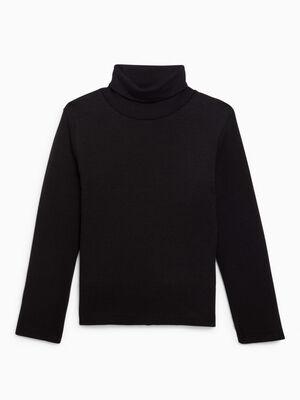T shirt manches longues col roule noir garcon