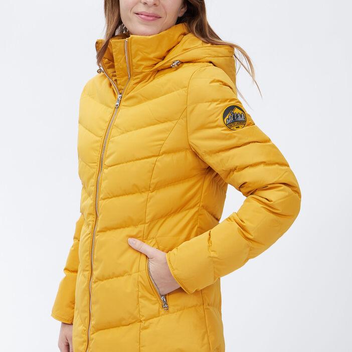 Doudoune droite à capuche femme jaune moutarde