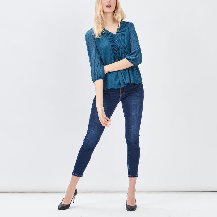 Blouse manches 3/4 femme bleu canard