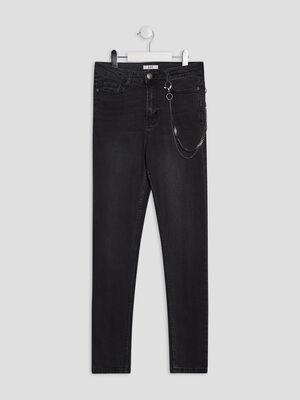 Jeans slim taille haute noir fille