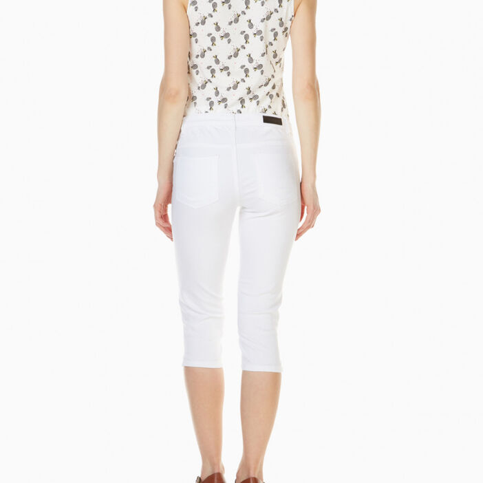 Pantacourt détails zips coton majoritair femme blanc