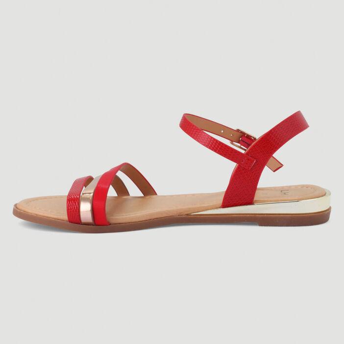 Sandales plates brides multi-texturées femme rouge