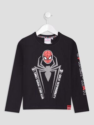 T shirt Spiderman noir garcon