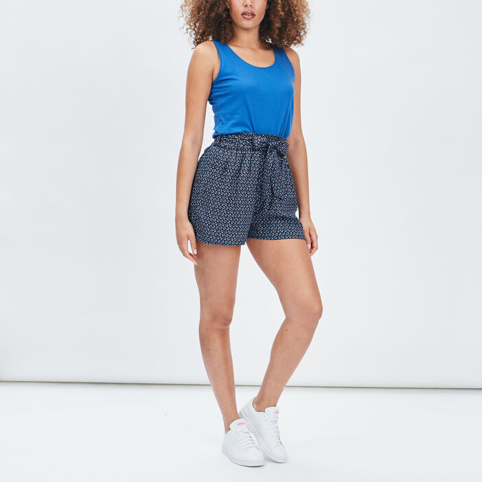 Short ample fluide femme bleu