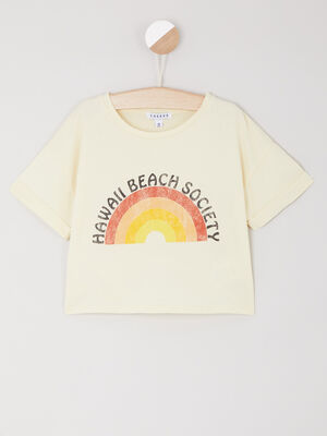 T shirt court imprime en coton jaune moutarde fille