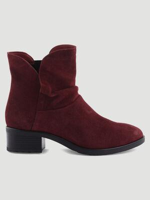 Boots en cuir fini velours bordeaux femme