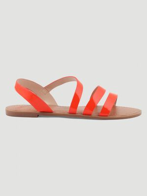 Sandales plates effet python orange femme