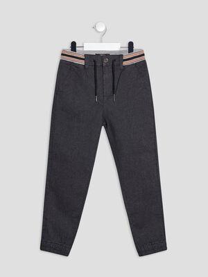 Pantalon jogger droit gris fonce garcon