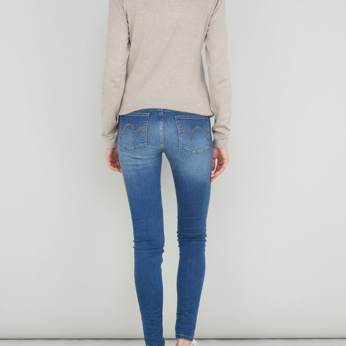 Jeans skinny taille basse femme denim stone