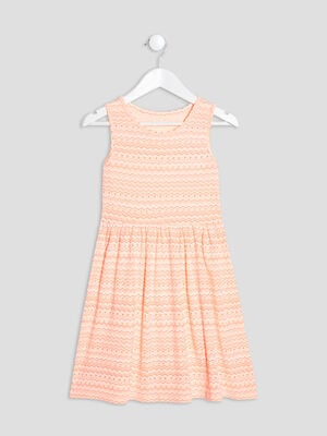 Robe evasee sans manches orange corail fille