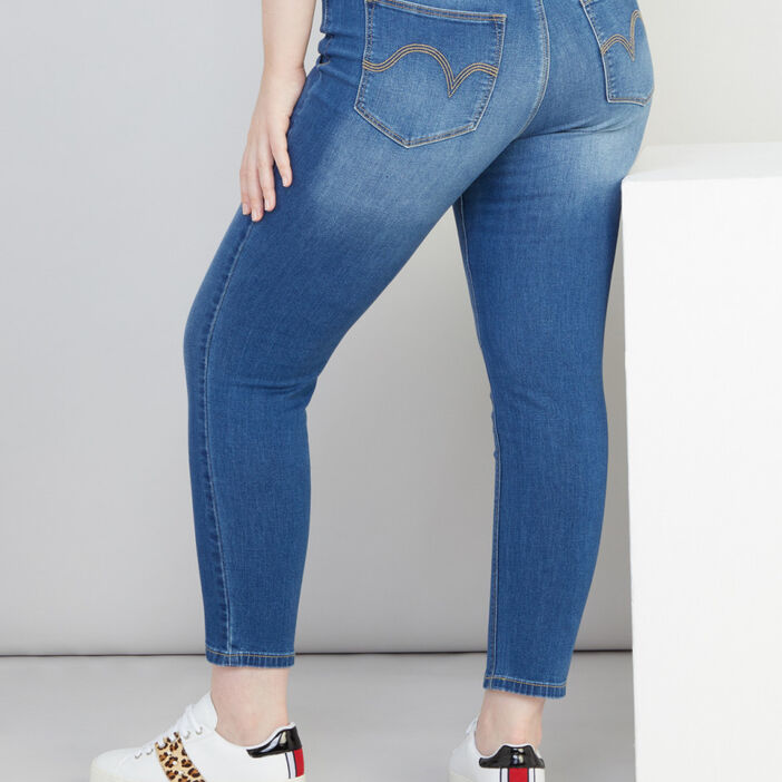 Jean slim cropped 5 poches femme grande taille denim double stone