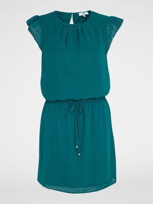 Robe avec manches courtes volantees vert meraude femme