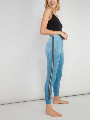 Pantalon de pyjama velours bleu canard femme