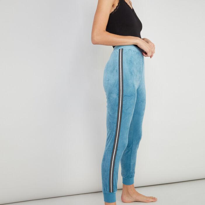 Pantalon de pyjama velours femme bleu canard