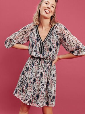 Robe droite taille smockee rose femme